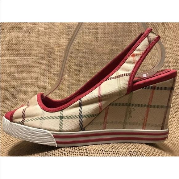 cfa55f02551 Coach Shoes - COACH Wedge Heel Sandals Canvas Plaid 8 N